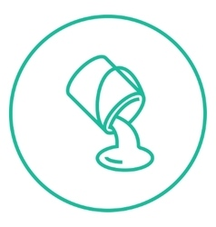 Paint pouring from bucket line icon vector