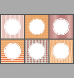 pastel color gentle posters with round frames vector image