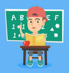Pupil sitting at the desk and pointing finger up vector