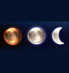 realistic moon lunar full and waning phases vector image