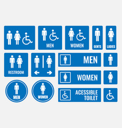 Restroom signs and toilet icons vector