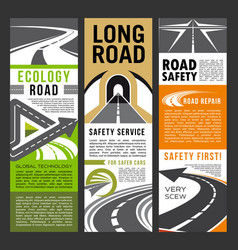 road safety and ecology service banners of highway vector image