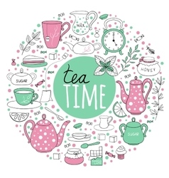 Round set of tea time vector