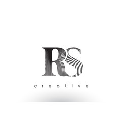 rs logo design with multiple lines and black vector image