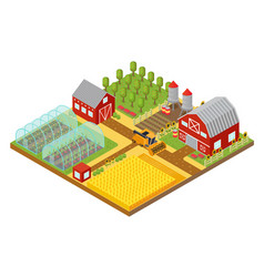 Rural 3d farm isometric template with garden vector