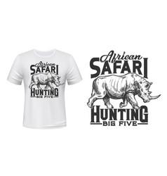 safari hunting t-shirt print with rhino vector image