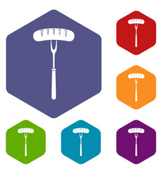 sausage on bbq fork icons set hexagon vector image