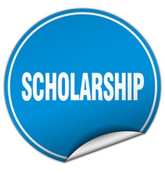 Scholarship round blue sticker isolated on white vector
