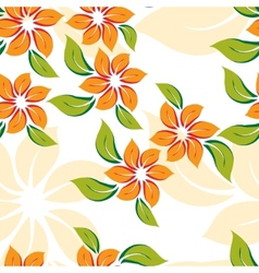 Seamless floral pattern with orange flowers vector
