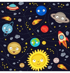 Seamless pattern with cute solar system vector