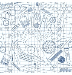 Seamless pattern with tools for makeup on notebook vector