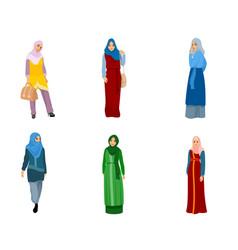 set muslim women vector image