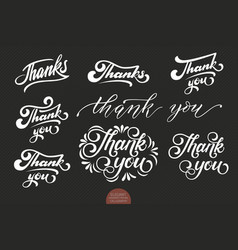 Set of hand drawn lettering thanks elegant modern vector