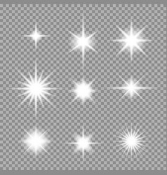 set of transparent abstract star burst with vector image