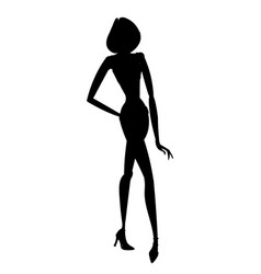 Silhouette of young beautiful girl posing with vector