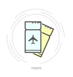 simple airplane tickets icon - linear style icon vector image