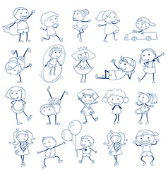 Sketch kids playing vector
