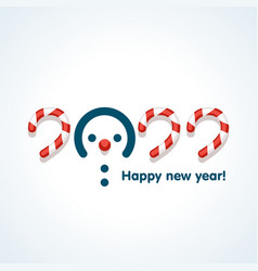 snowmen in text design pattern happy new year vector image