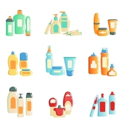 Spa products bottles sets collection of vector