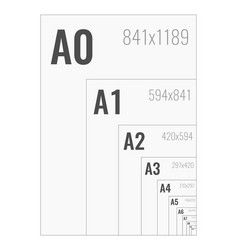 standard paper sizes a series from a0 to a10 vector image