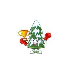 Super cool boxing winner christmas tree snow in vector