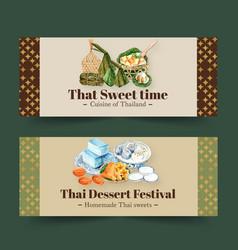 Thai sweet banner design with mini castella vector