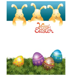 Three Bunnies on Top and Easter Eggs vector image
