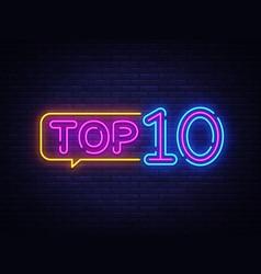 top 10 neon text top ten neon sign design vector image