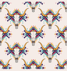 Tribal seamless pattern with bull skull and vector