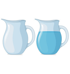 Two jars with and without water vector