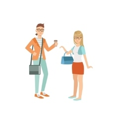 Two Students In Hipster Trendy Outfits vector