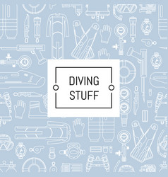 Underwater diving linear style background vector