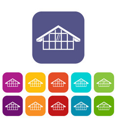 warehouse icons set vector image