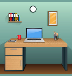 workplace in room with green wall vector image