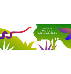 world animal day banner exotic jungle snake vector image