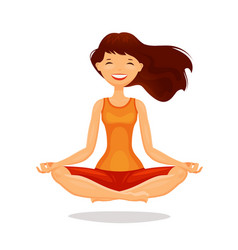 young woman girl practicing yoga in lotus pose vector image
