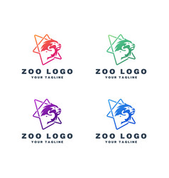 Zoo logo design set vector