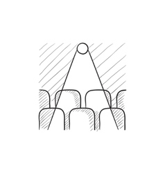 Movie theater with seats projector sketch icon vector image vector image