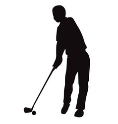 silhouette of golf swing front view - vector image