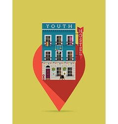 Youth hostel on a pin icon vector