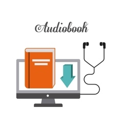 Book and Headphone icon Audiobooks design vector image