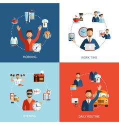 Businessman daily routine concept flat icons vector image vector image