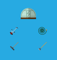 Flat icon dacha set of tool hothouse hosepipe vector
