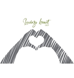 Hand drawn heart formed by human fingers vector image