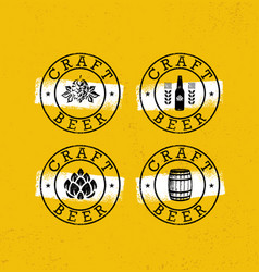 handmade craft beer rough stamps set drink local vector image vector image