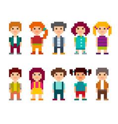 set of different pixel art 8-bit people characters vector image