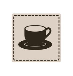 Sticker cup with plate icon vector