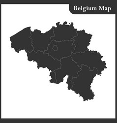 the detailed map of the belgium with regions vector image