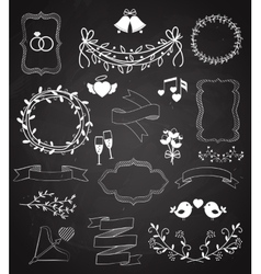 Wedding chalkboard Banners and Ribbons set vector image