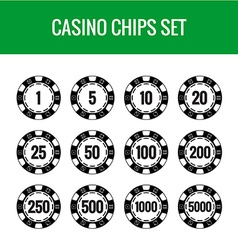Casino chips set Black poker chips with numbers vector image